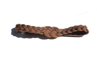 braided waist belt in taupe 80s 1980s vintage adjustable velcro womens accessory kitsch preppy hipster light brown