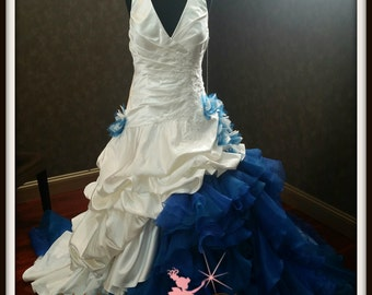 Stunning White and Blue Wedding Dress
