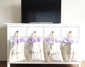 Personalized Bag Gift for Bridesmaids, Canvas Tote Striped Ribbon Gift for Wedding Bridal Party, Birthday or Holiday Gift (Item - BPB300)