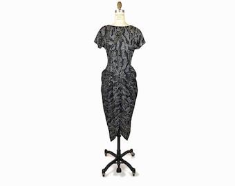 sale! 50% off - Vintage 80s Black Rhinestone Party Dress / Little Black Dress - women's small/medium