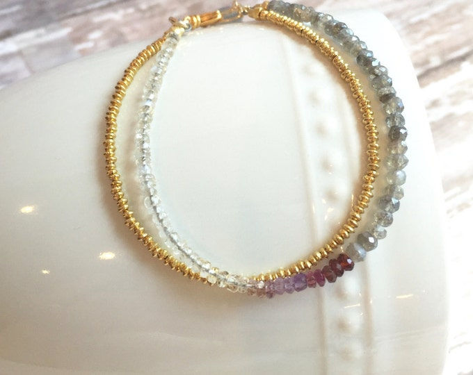 Tiny Gold Bead and Ombre Gemstone Bracelet