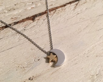 Tiny Star and Moon Necklace, Crescent Moon Sky Lover Pendant, Small Charm, Golden or Silver on delicate Chain