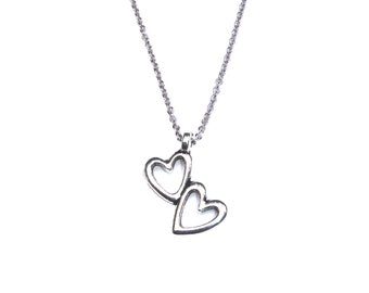 Double hearts necklace, two tiny silver toned hearts, Valentine's Day gift, bff best friends gift idea