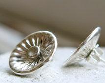 Corrugated Silver Stud Earrings - Post Earrings - Versatile Stud Earrings - Trendy - Dainty - Handmade - Minimalist Jewelry - VenexiaJewelry