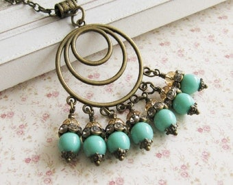 Turquoise blue necklace, large pendant necklace, bronze vintage style jewelry, for her, crystal necklace, Europe