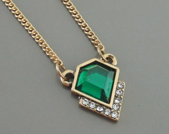Emerald Necklace - Gold Necklace - Green Necklace - Crystal Necklace - Layering Necklace - handmade jewelry