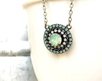 Cluster Necklace - Halo Set Jewelry - Green Opal Jewelry - Pendant Necklace - White Opal Jewelry - Crystal Necklace - Swarovski Rhinestone