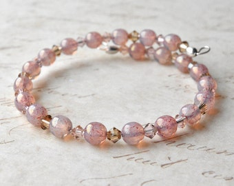 Pink Bracelet, Glass Beads, Wire Bracelet, Beaded Bangle, Stacking Bracelet, UK Jewellery