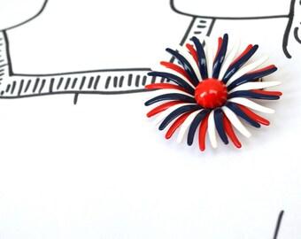 Vintage Enamel Funky Flower Brooch - Red White Blue