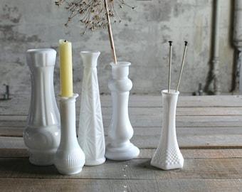 5 Vintage Milk Glass Vases - No. 1