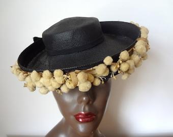 1930s-40s Tilt Hat - black straw wide brim topper - vintage art deco accessory