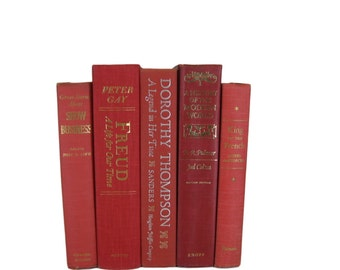 Red Vintage Books, Decorative Books, Wedding Decor, Gift For Book Lover, Gift for Her, Home Decor, Photo Prop, Used Books