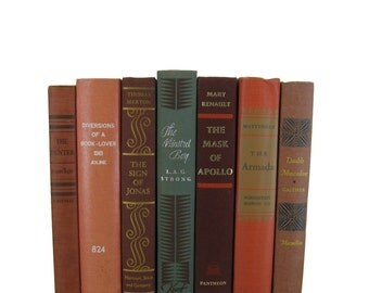 Shades of Brick Orange  Decorative Books, Vintage Books, Home Decor,  House Warming gift, gift for book lover, Photo Props , Wedding Decor