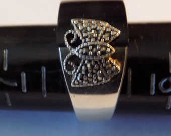 Vintage ring, size 8 sterling silver,onyx and marcasites butterfly ring signed DBJ,jewelry