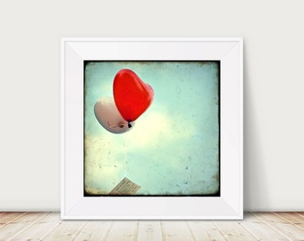 Love is in the Air - Fine Art Print of heart shaped red and white Balloons on a Wedding Day