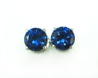 Gold Sapphire Stud Earrings, Gift for her, Sapphire Earrings, Simple Earrings, Antique Sapphire Earrings, Blue Earrings, White Gold Earrings