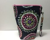 Bright Print Quilted Project Bag, Crochet Project Bag, Knitting Project Bag,  Tall Zippered Pouch, Quiltsy Handmade