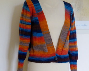 New. Hand knit cardigan multicolours UK 12 US 8-10, 4 ply, angora and woolmix. Quality yarn.