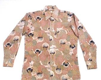Ice Cream Cone shirt Mens 16 16.5 Large Vintage Surreal Melting Ice Cream 1970s Bardon Disco Shirt Abstract Psychedelic Circles Polyester