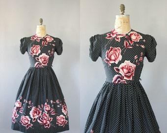 Vintage 50s Dress/ 1950s Cotton Dress/ Black & White Polka Dot Pink Rose Print Cotton Dress w/ Puff Sleeves L