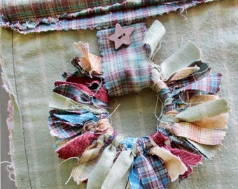 Rustic Wall Hanging,  Shabby Chic, Bamboo and Twine Hanger, Tied Fabric Wreaths