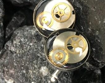 Watch Parts Resin Cuff Links (Cufflinks) OOAK #3  Silver Plated