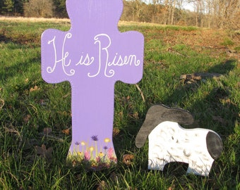 """Wooden """"He Is Risen"""" Easter Cross and Lamb"""