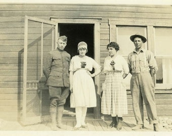 """Antique Photograph """"Allen, Allison, Anna and Albert"""" Military Soldier Man Woman Girl Boy Friends Family Group Old Black & White Photo - 125"""