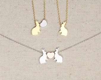 Bunny Rabbit Lover Necklace, Heart, Easter, Easter Bunny, Animal Lover, Gift for Her, Mother Daughter, Best Friends