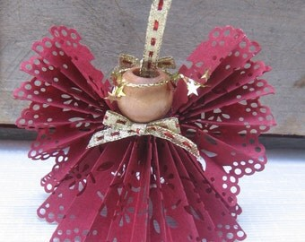 Burgundy Paper Lace Angel, Tree Ornament, Paper Ribbon Angel, Christmas Tree Ornament, Tree Decor, Victorian, Cranberry Angel SnowNoseCrafts
