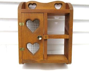Vintage Wood Wall Shelf, Hanging Cabinet, Wooden Display, Knick Knack Shelf, Curio Box, Hearts