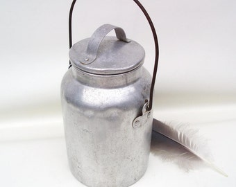 Vintage Aluminum Canister, Milk Can, Metal Pail, Milk Pail, Storage Container