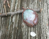 Bloodstone Pendant Antiqued Blue and Red Sky Pendant, Wire Wrapped Cabochon Gemstone Necklace, with copper wire woven in a botanical pattern