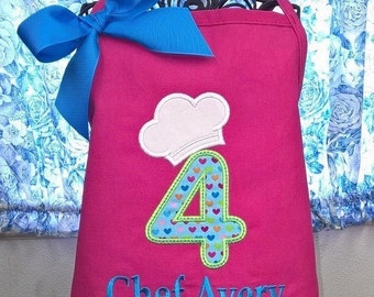 Child Birthday Apron Kids Chef Hat Cooking Craft or Paint Party Aprons