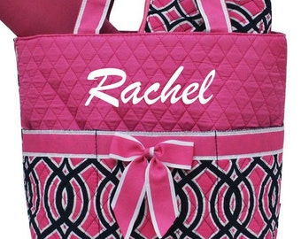 Personalized Diaper Bag Quilted 3pc Geometric Navy & Hot Pink