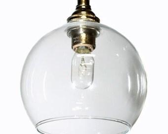 Mini clear glass open bottom shade edison pendant light - vintage modern style