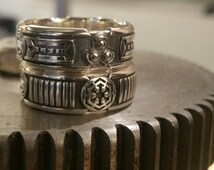 Custom Lightsaber Ring - Star Wars Sci- Fi Mens Sterling Silver Wedding Ring - Geek Engagement
