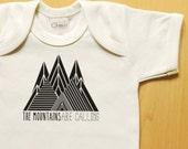 Geometric mountains baby tshirt, onesie, bodysuit, organic baby clothes, hipster baby, modern, unisex, wild