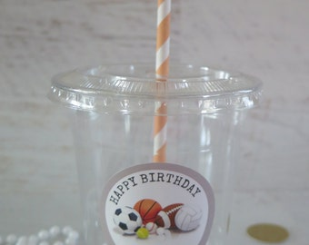12 Sports Baseball Football Soccer Basketball Volleyball Plastic Disposable Party Favor Cups w/ Lids Straw & Tags- Birthday/party/kid party