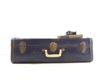 Vintage Suitcase / Blue Metal Suitcase / Vintage Luggage