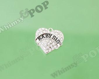 1 - Tibetan Silver Crystal Rhinestone Baby Sis Charm, Sister Heart Charm, Sister Charm, 20mm (R8-169)