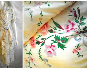 1950's Vintage Nylon Floral Print Robe Summer Robe Small Vintage Lingerie lucy Robe Full Skirt