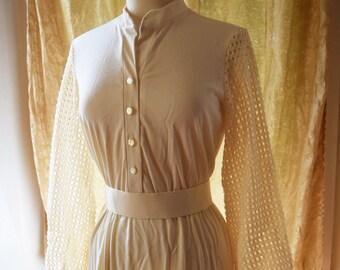 Mod Cream Cutwork Lace Sheer Sleeve Dress 1960s Boho Hippie Dress