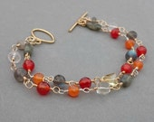 Multi Strand Bracelet with Flash Labradorite, Carnelian, Red Agate, Citrine, Rock Crystal and Gold Fill