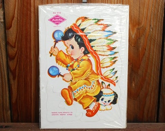 Vintage Build-Rite Puzzles - Indian and Puppy - Girl and Kitten - Early 1960's Cardboard 20 Piece Puzzles - Sealed - New In Package Set of 2