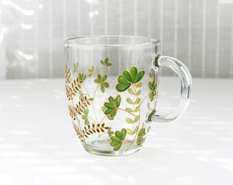 Green Foliage Mug, Hand Painted Glass Mug,  Coffee Mug, Tea Mug, Glass Mug with Leaves, Botanical Mug, Glass Botanical Foliage Mug