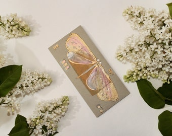 Money Gift Card Envelope - Olive green and pearly pink dragonfly - gold butterfly dusty pink yellow silver pastel colours - unique gift OOAK