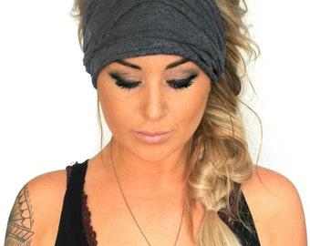 Charcoal Scrunch Headband, Extra Wide Headband, Jersey Headband, Extra Wide Jersey Headband, (women, teen girls)