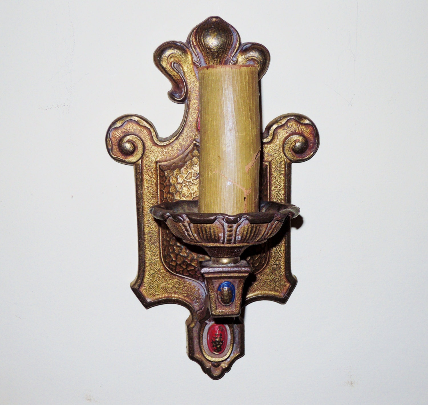 Art Deco Wax Candle Wall Sconces : Vintage Art Deco Electric Candle Wall Sconce