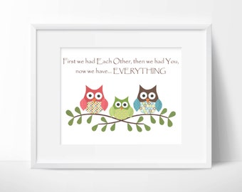 Owls- First we had each other, quote, Nursery or children artwork, decoupage, red, blue, green, brown, bird, tree branch, custom print, owl